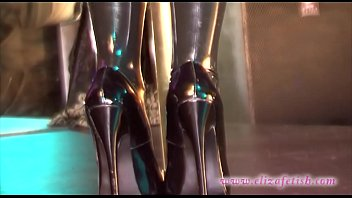 Latex dildoo knickers Latex stockings clad blonde in 6 inch stiletto high heels