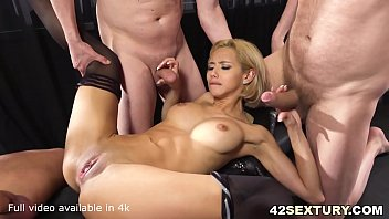 Absolutely Stunningly Sexy Veronica Leal Offers both her holes to 3 guys