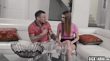 Perverted tattooed guy seduced by a horny brunette teen