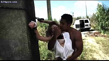 Chained babe gets licked and fucked