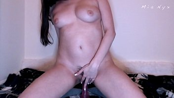 Creamy cock riding reverse cowgirl and pussy fucking cumming with pink toy young amateur Mia Nyx