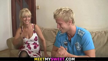 Blonde mom and old dad have fun with son's girlfriend porn image