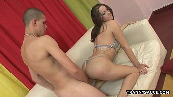 Hot brunette shemale babe gets fucked hard anally