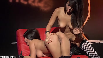 Layla Rose pussy fucks her exotic lesbian lover Sophia Jade with a dildo