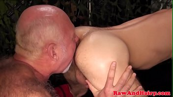 Asslicking gay pctures Asslicking silver bear takes cum in mouth