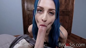 Blue Haired Sister Fucks Brother For A Challenge- Jewelz Blu