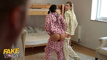 Fake Hostel y. in pajamas have fun with a thick cock squirt