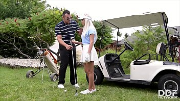 Endless lust makes horny golf newbie Candee Licious ride her teacher's dick