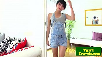 Young ladyboy Sofie gives hot solo show