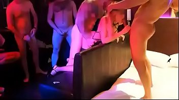 10 men fucks one russian blonde sexwife on a party
