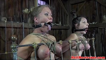 Restrained mouth gagged subs toyed in trio