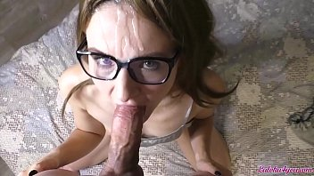 Wife in Glasses Passionate Blowjob Big Cock - Cum on Face