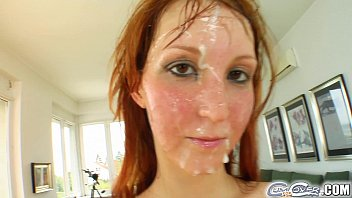 Cum For Cover Redheads drenched in cum after 5 cock deepthroat