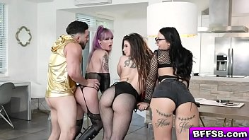 Edgy besties twerk their jiggly asses for their favorite DJ exposing their perfect titties and sharing his veiny sausage in a drooling blowjob