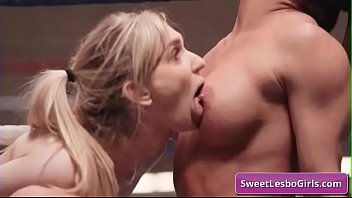 Sexy and horny big tit lesbian babes Ariel X, Mackenzie Moss eating pussy and fingering each other in the wrestling ring