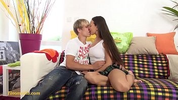 young blond boy in love with a young lady