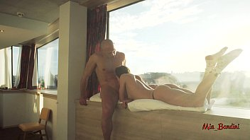 Amateur couple having passionate sex and cumshot on window