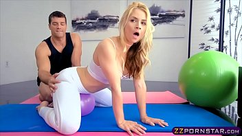Sexy blonde in yoga pants fucked in her oiled up ass