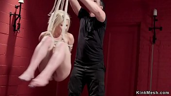 Petite blonde hogtied slave anal toyed