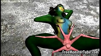 Green 3D babe gets fucked hard by an alien spider