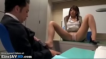 Jav secretary in pantyhose has sex with new coworker