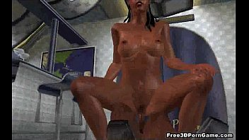 Tasty 3D cartoon ebony stewardess getting fucked