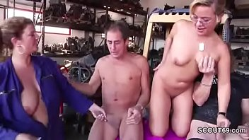 MILF Mother Seduce to Fuck Outdoor in Threesome by German