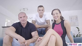 21 Years old Hottie Kristy Black surprised to have a Bisexual Threesome with Max Born and Peter