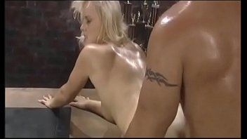 Hot blonde babe Hannah Harper gets fucked on a desk, takes a cumshot on her twat