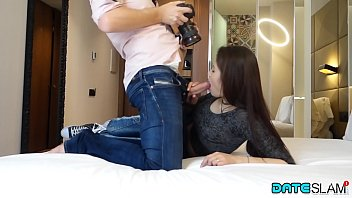 Date Slam - Sexy Asian babe gets her hairy pussy creampied thumbnail