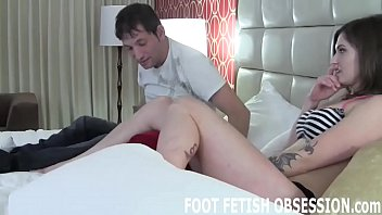 Teasing your hard cock with my soft feet feels so good