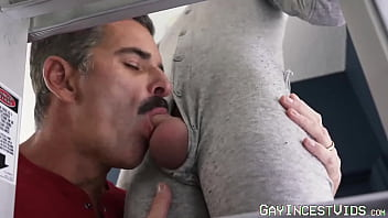 Petite twink gives intense blowjob to throbbing cock stepdad