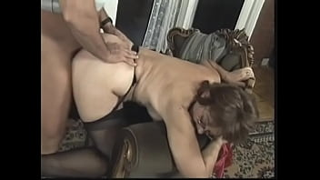 Mature bbw loves it when a young couple fucks her and he cums in her asshole