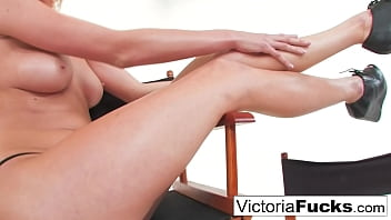 Hot blonde Victoria White plays with her wet pussy