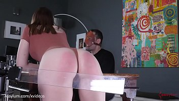 Humiliating spank Brutal spanking machine paddles hot pawgs ass during dinner while sadistic man feasts jessica kay