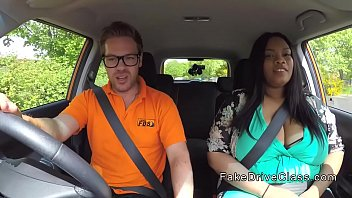 Fat ebony student fucks instructor in car