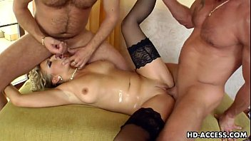 MILF blonde Luciana takes on two y. dudes