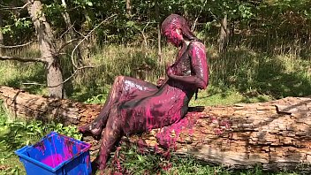 Seaweed facials - Messy cute girl, dirty muddy and gunged in sexy pink