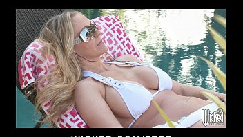 Cool bikini top sexy mom - Sexy bikini clad milf rides her delivery boys cock by the pool