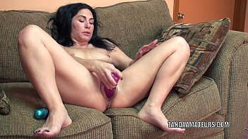forced strip movies - Mature slut Cleo Leroux stuff her twat with a dildo thumbnail