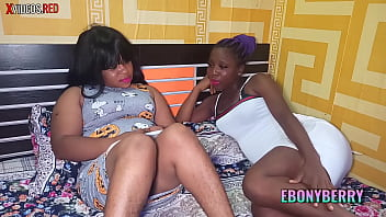Two horny ebony friends touching each others body and having fun.