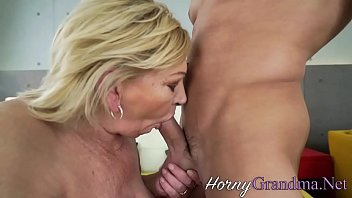 Old blonde lady gets cum dumped