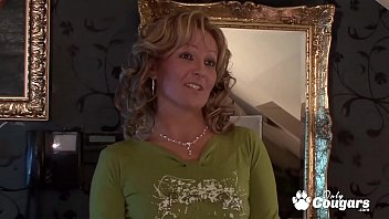Mature Cougar Lets A Lucky Young Man Piss All Over Her