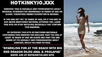 Sparkling fun at the beach with big red dragon dildo anal &amp_ prolapse