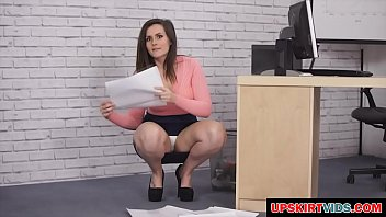 the office girl shows her clean panties