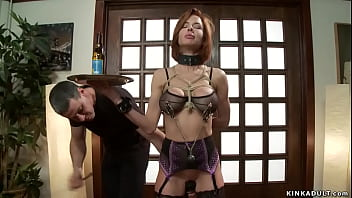 Bound MILF takes huge black cock in ass
