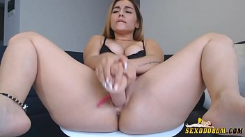 Very hot blonde masturbating on webcam