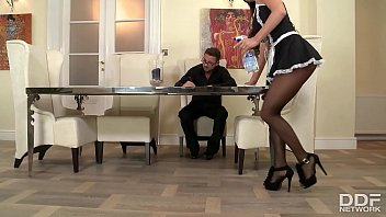 Bombshell maid Sheila Grant foot fucked to the extreme for loads of cum