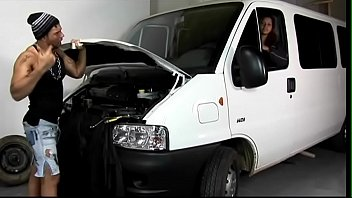 Muscular car mechanic dates in his workshop with juicy swarthy-faced hottie Mary Sanches with big natural tits and hairy pussy