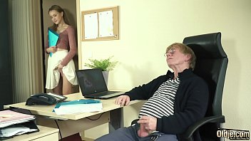 Hardcore old and young fuck at the office